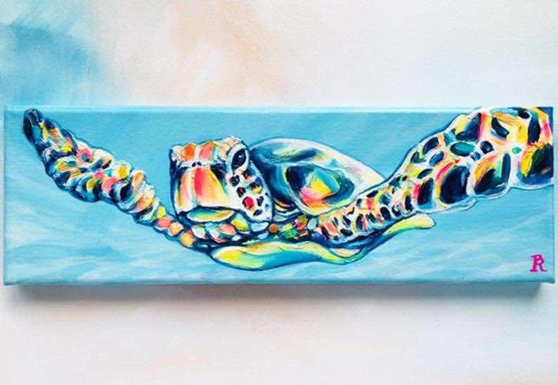 """Sea Turtle Painting: """"Adventurer"""" Hawaiian Honu"""
