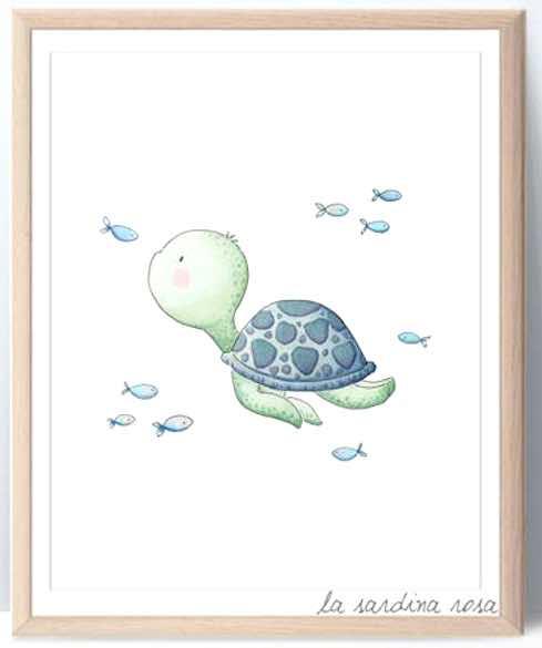 Sea Turtle Nautical Nursery Print