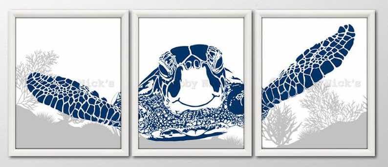 Sea Turtle Triptych Art Prints