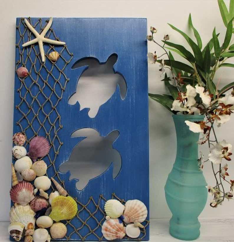 """Under The Sea"" Rustic Sea Turtle Wall Art"