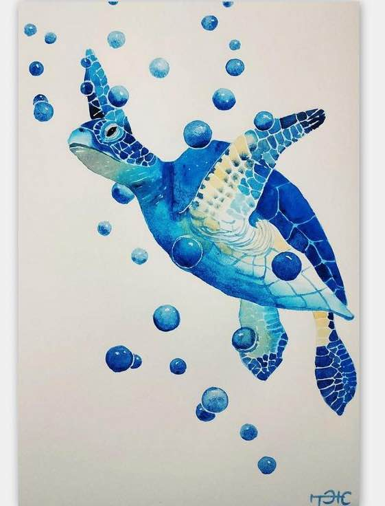 Blue Sea Turtle Original Watercolor Art