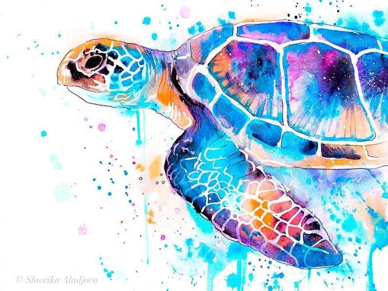 Blue Sea Turtle Watercolor Painting Print