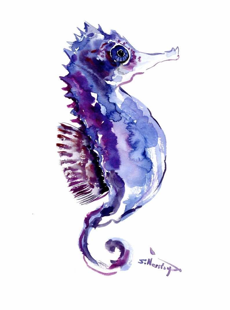 Purple Seahorse Original Watercolor Painting
