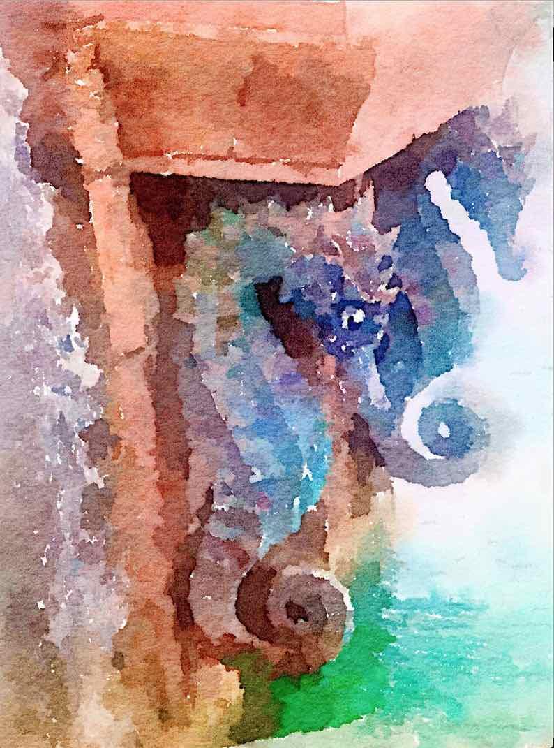 """""""Seahorses of Atlantis"""" Original Watercolor Painting"""