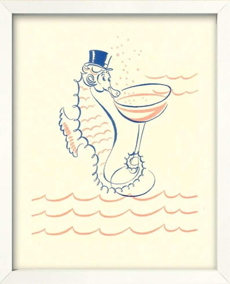 Seahorse Cocktail Print