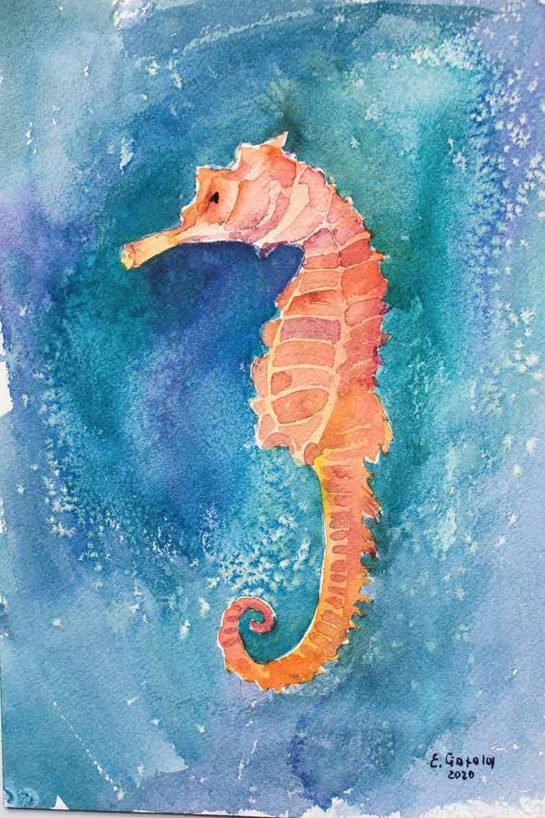 Seahorse Original Art Watercolor Painting