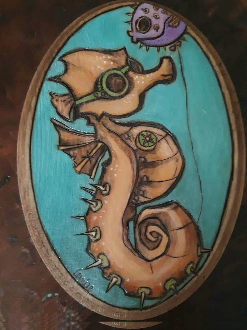 Steampunk Seahorse Pyrogravure Plaque