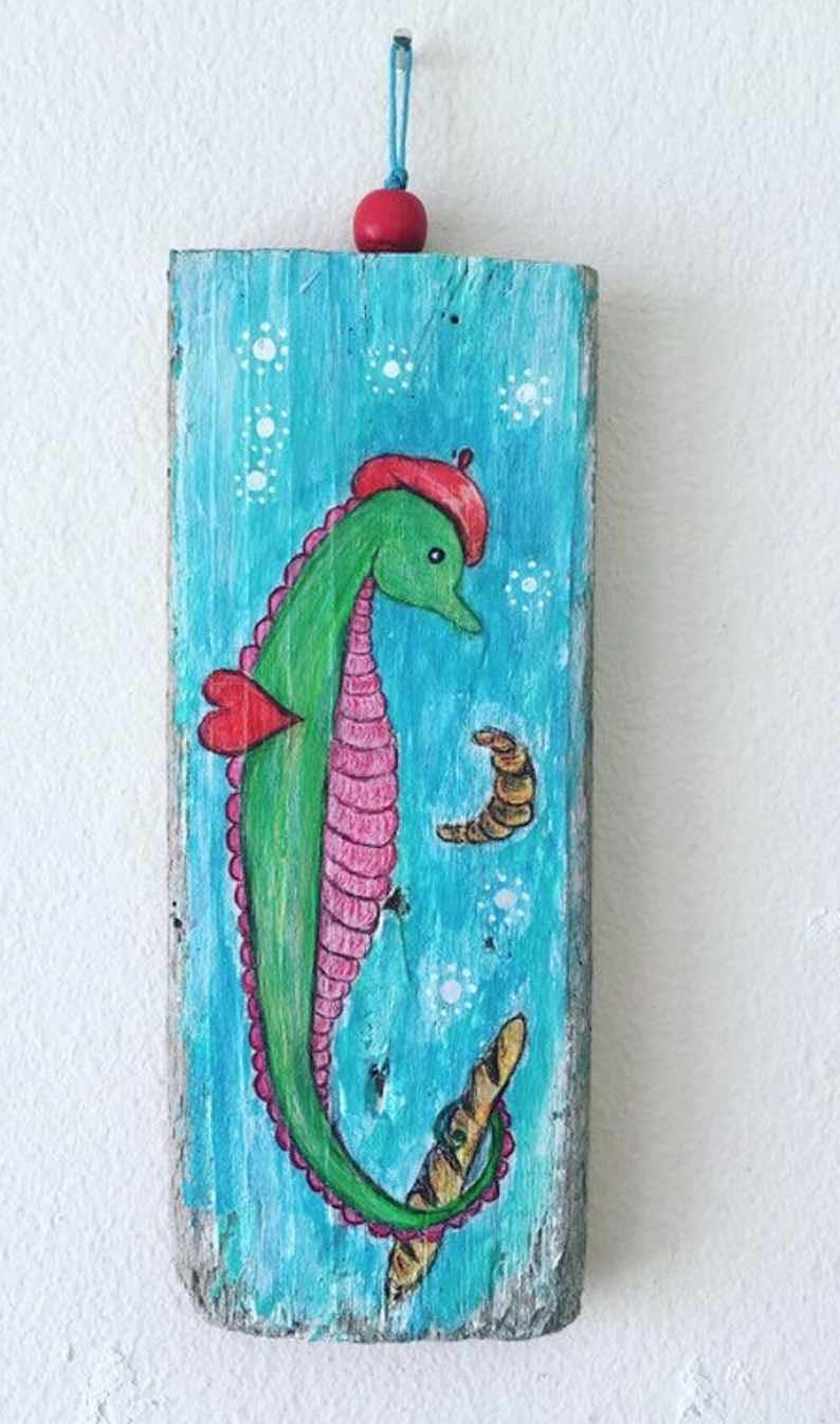 Fantasy French Seahorse Original Painting Wall Hanging