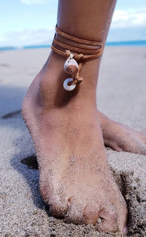 Seashell Leather Anklette by Aubrey Vailoces
