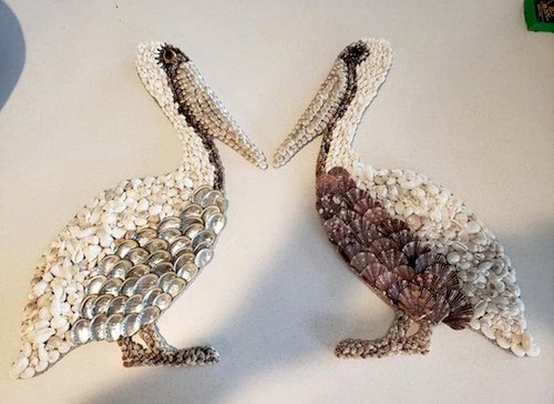 Seashell Pelicans by Cathy