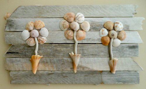 Flowers in Little Whelk Shell Cups by Lizzie