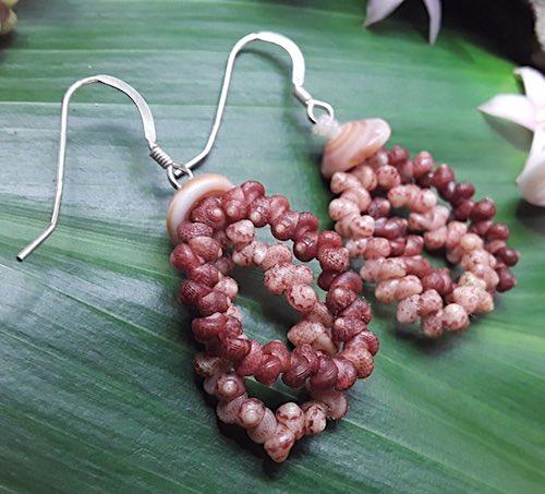Kauai Kahelelani Shell Earrings by Lonnie Coleman
