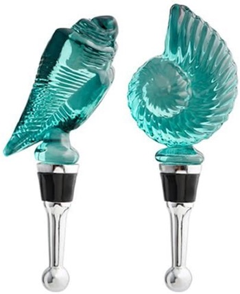 Blue Glass Shells Wine Bottle Stopper Set