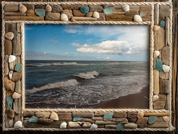 Driftwood, Glass & Shells Picture Frame