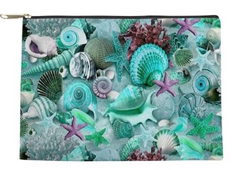 Green Seashells & Starfish Makeup Bag