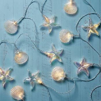 Iridescent Seashell & Starfish String Lights