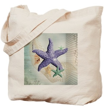 Purple Starfish Tote Bag