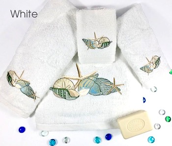 Seashell Embroidered Turkish Towels