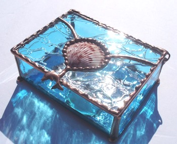 Stained Glass & Shell Jewelry Box