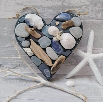Treasures of the Ocean Wooden Heart
