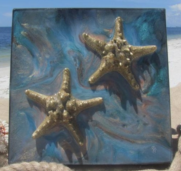 Coastal Starfish Painting with Starfish.