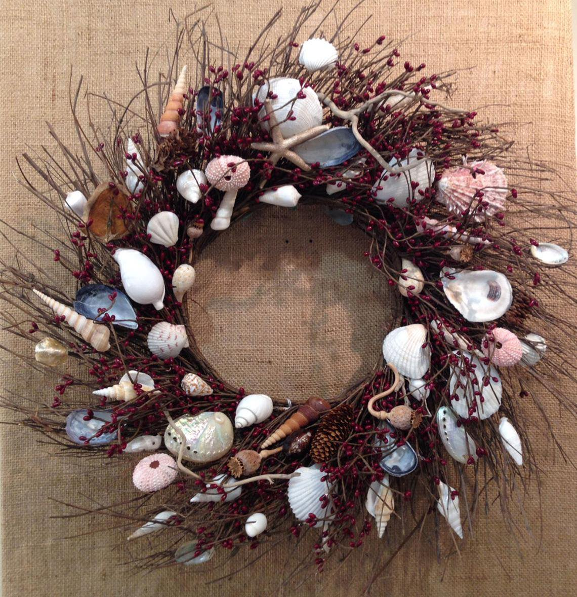 Twig and Berry Wreath with Shells